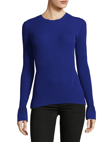 Diane Von Furstenberg Bell Sleeve Crew Sweater-BLUE-X-Small