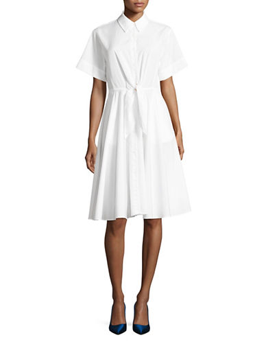 Diane Von Furstenberg Short Sleeve Flared Shirt Dress-WHITE-6