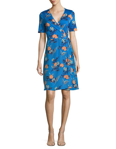 Diane Von Furstenberg Silk Floral Wrap Dress-BLUE MULTI-14
