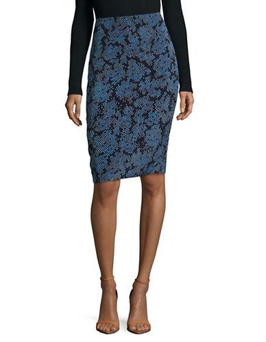 Diane Von Furstenberg Tailored Print Pencil Skirt-BLUE-8