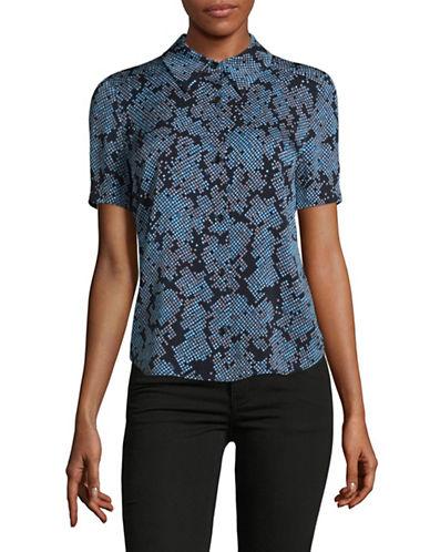 Diane Von Furstenberg Silk-Blend Grid Print Blouse-BLUE-10