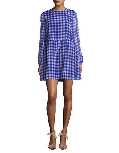 Diane Von Furstenberg Silk Gingham Mini Dress-BLUE-6