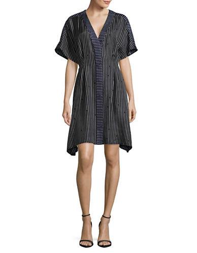 Diane Von Furstenberg Silk Larson Stripe Tie Front Dress-BLUE-Small