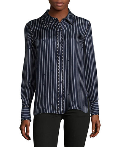 Diane Von Furstenberg Broken Stripe Blouse-BLUE MULTI-14