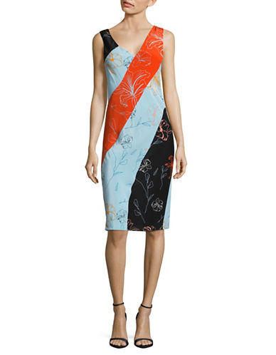 Diane Von Furstenberg Bias-Cut Silk Crepe Sheath Dress-BLACK MULTI-6
