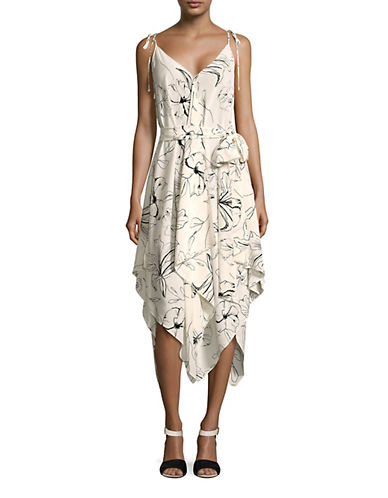 Diane Von Furstenberg Scarf Hem Shift Dress-IVORY-Small