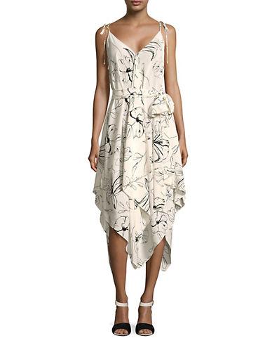Diane Von Furstenberg Scarf Hem Shift Dress-IVORY-Medium