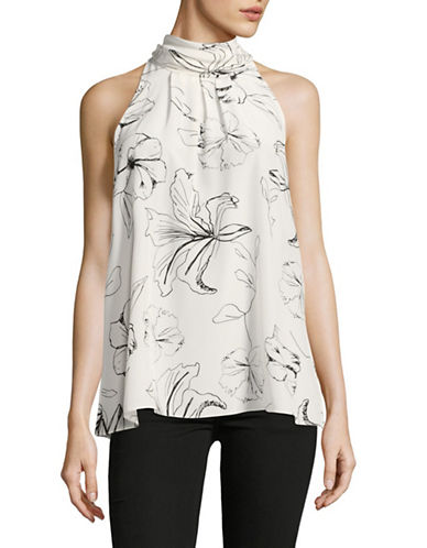 Diane Von Furstenberg Sleeveless Floral High Neck Blouse-IVORY-Medium