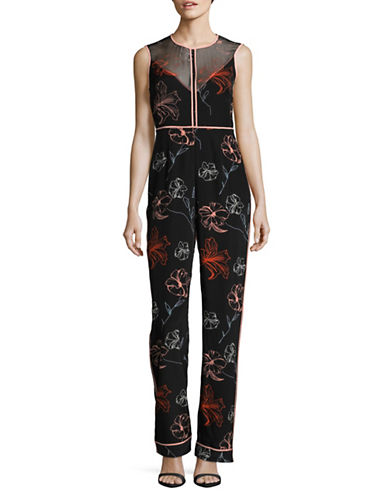 Diane Von Furstenberg Sleeveless Silk Floral Jumpsuit-BLACK-8
