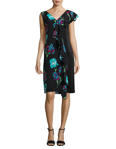 Diane Von Furstenberg Side Ruffle Silk Shift Dress-BLACK MULTI-6