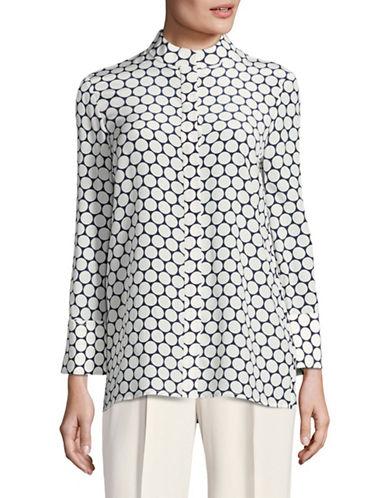 Diane Von Furstenberg Printed Stand Collar Silk Shirt-BLUE-4