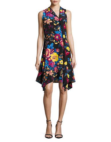 Diane Von Furstenberg Floral Silk Bias Dress-BLACK MULTI-14