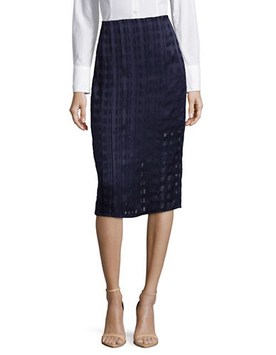 Diane Von Furstenberg Textured Midi Pencil Skirt-MIDNIGHT-12