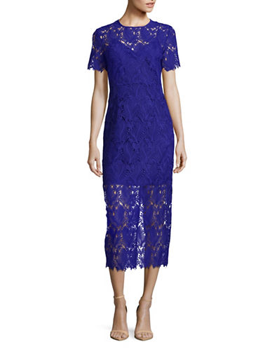 Diane Von Furstenberg Lace Overlay Midi Sheath Dress-BLUE-2
