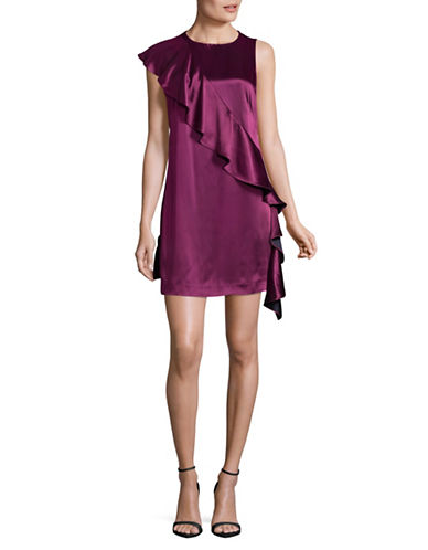 Diane Von Furstenberg Sleeveless Crossbody Ruffle Dress-AUBERGINE-14