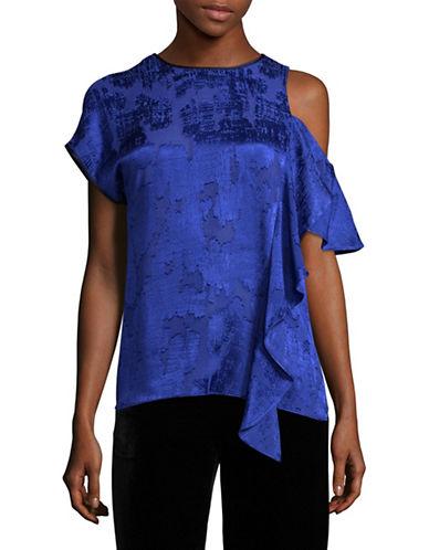 Diane Von Furstenberg Side Ruffle Blouse-BLUE-12