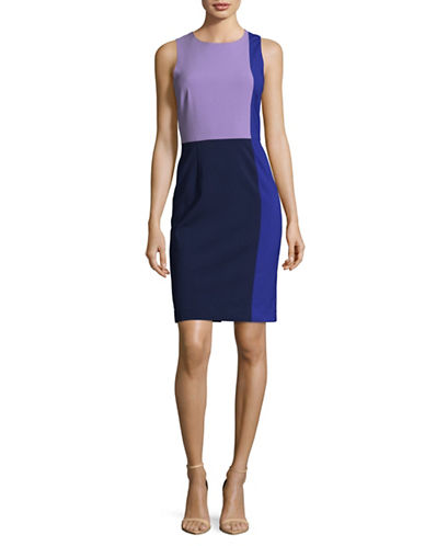 Diane Von Furstenberg Sleeveless Colourblock Sheath Dress-BLUE-2