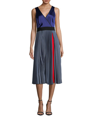 Diane Von Furstenberg Pleated Sleeveless Wrap Dress-BLUE-12