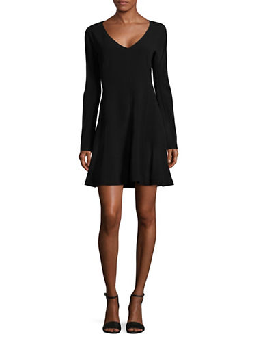 Diane Von Furstenberg V-Neck Long Sleeve Fit-and-Flare Dress-BLACK-10