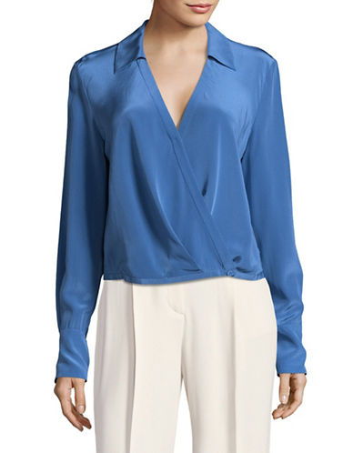 Diane Von Furstenberg Collared Crossover Silk Blouse-BLUE-10