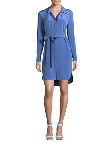 Diane Von Furstenberg Silk Shirt Dress-VIOLET-14
