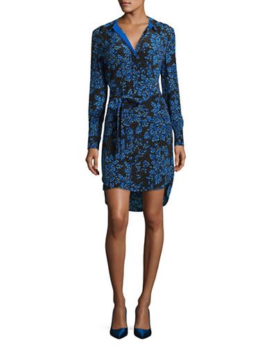 Diane Von Furstenberg Floral Silk Shirt Dress-BLACK MULTI-0