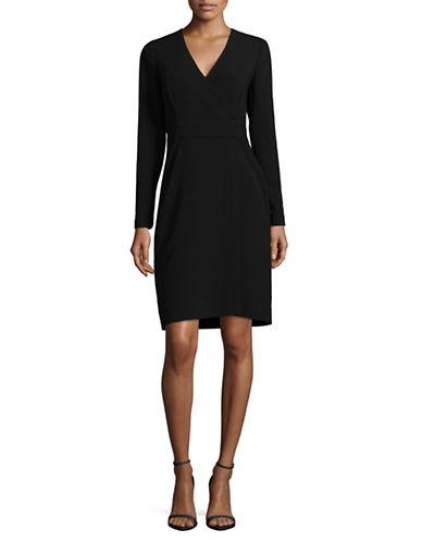 Diane Von Furstenberg V-Neck Wrap Dress-BLACK-4