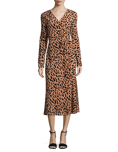 Diane Von Furstenberg Woven Silk Midi Wrap Dress-BEIGE MULTI-12