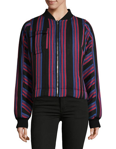 Diane Von Furstenberg Cropper Bomber Jacket-BLACK MULTI-Large