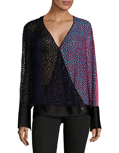 Diane Von Furstenberg Dotted Velvet Surplice Top-PURPLE-Small