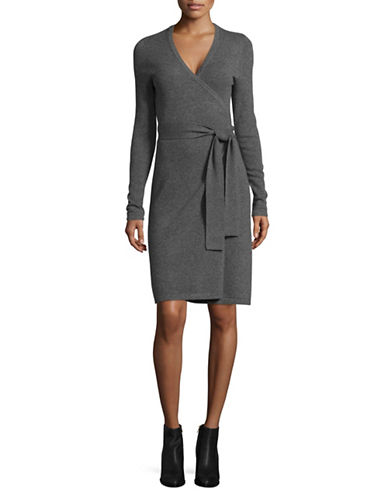 Diane Von Furstenberg New Linda Cashmere Wrap Dress-CHARCOAL-Small