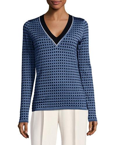 Diane Von Furstenberg Square-Stitch V-Neck Pullover-NAVY-Medium