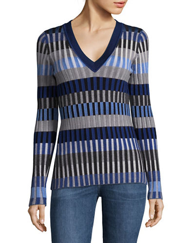 Diane Von Furstenberg Square-Stitch V-Neck Pullover-ASH COMBO-Large