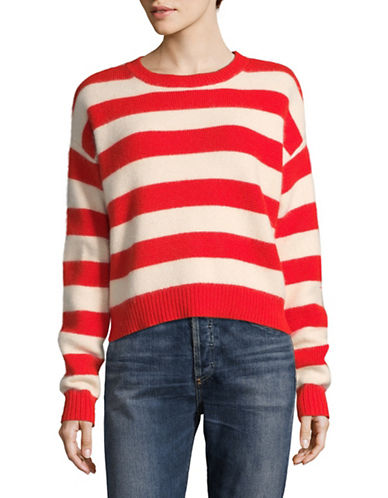 Diane Von Furstenberg Striped Baseball Pullover-RED MULTI-X-Small