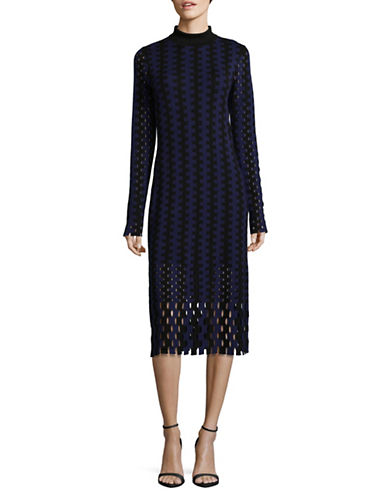 Diane Von Furstenberg Turtleneck Wool Midi Dress-BLACK MULTI-Small