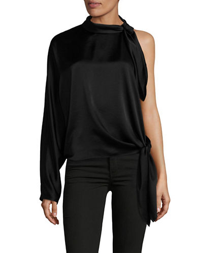Diane Von Furstenberg One-Shoulder Knotted Blouse-BLACK-Medium