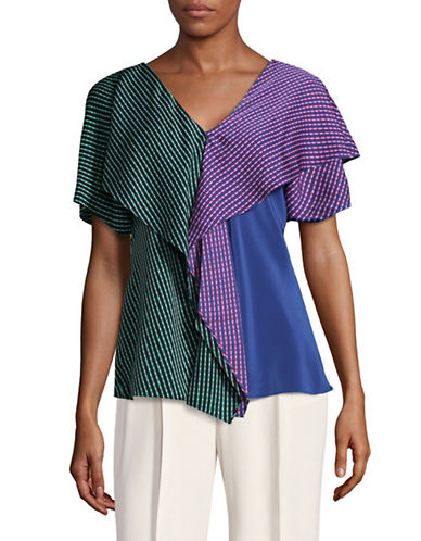 Diane Von Furstenberg Ruffle Front Silk-Blend Blouse-BLUE MULTI-Small