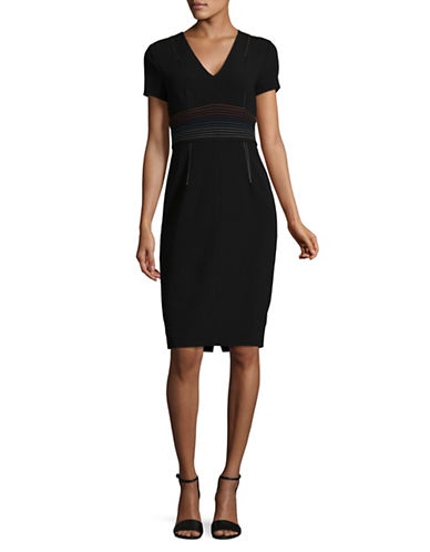 Diane Von Furstenberg Y Style V-Neck Dress-BLACK-2