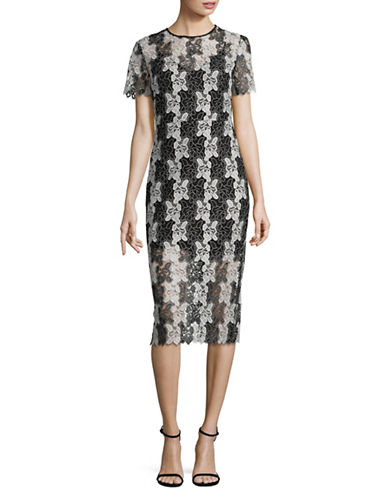 Diane Von Furstenberg Tailored Lace Sheath Dress-BLACK-6