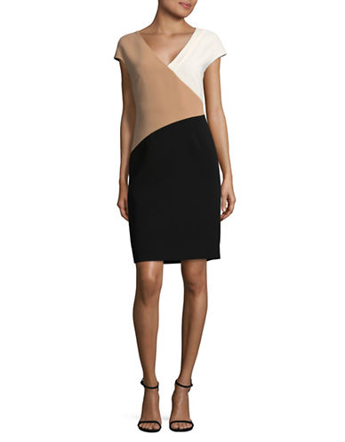 Diane Von Furstenberg Banded V-Neck Sheath Dress-BEIGE-6