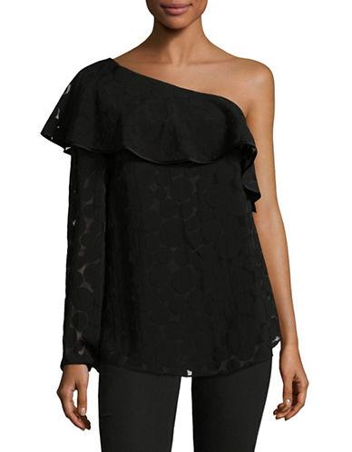 Diane Von Furstenberg Ruffle One Shoulder Top-BLACK-Large