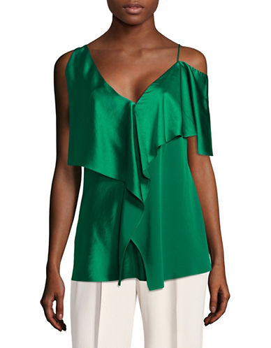 Diane Von Furstenberg Ruffle Cold-Shoulder Blouse-GREEN-Small