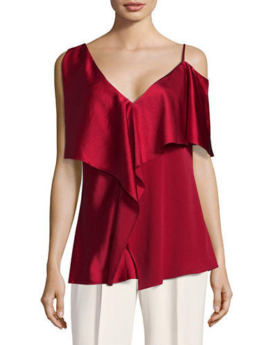 Diane Von Furstenberg Ruffle Cold-Shoulder Blouse-RUST-Small