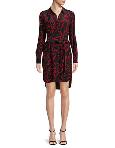 Diane Von Furstenberg Spread Collar Silk Shirtdress-SHEL BLACK-0