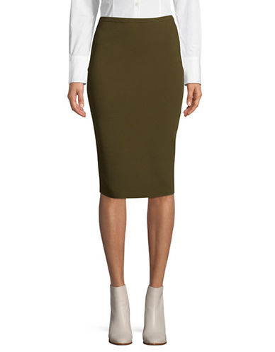 Diane Von Furstenberg Pull-On Pencil Skirt-OLIVE-Large