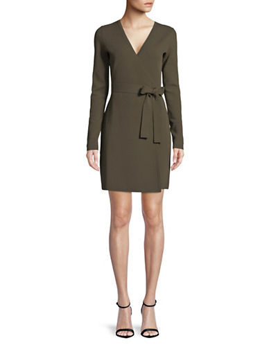 Diane Von Furstenberg Long-Sleeve Wrap Dress-OLIVE-Medium