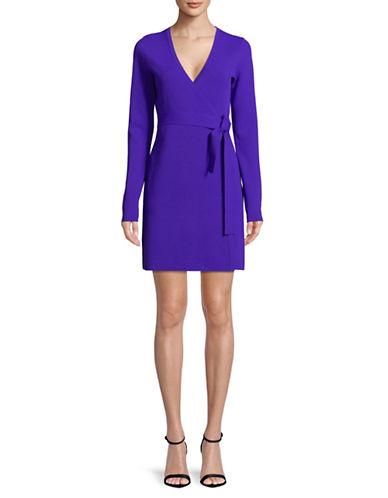 Diane Von Furstenberg Long-Sleeve Wrap Dress-BLUE-X-Small