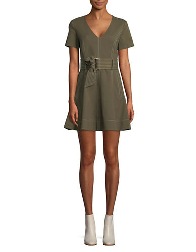 Diane Von Furstenberg Belted Short-Sleeve Dress-OLIVE-2