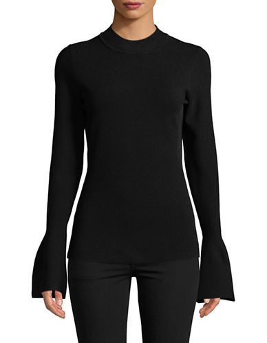 Diane Von Furstenberg Flutter-Sleeve Mock Neck Top-BLACK-Medium