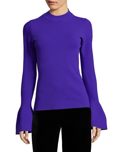Diane Von Furstenberg Flutter-Sleeve Mock Neck Top-BLUE-Medium